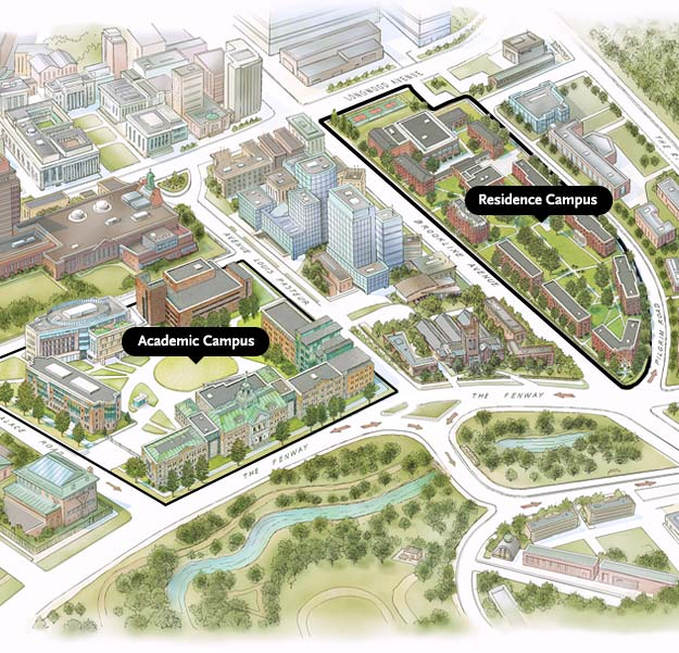 Campus Map showing the Academic Campus and the Residence Campus